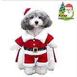 SymbolLife Costume da Babbo Natale Cane Cappotto per Cani Giacca Invernale per Cani Caldo Natale con Cappuccio Maglione per Cane in Misto Cotone. Regalo Natalizio