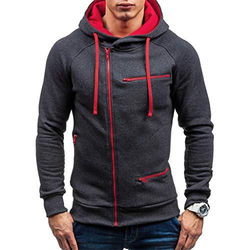EUCoo - Sudadera para hombre con capucha y cremallera para otoño con capucha y capucha gris L