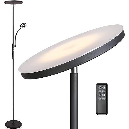 Anten Lampadaire sur pied salon Klara avec liseuse   Noir   30W Lampe sur pied dimmable avec télécommande   3 couleur de lumière + Luminosité réglable   Lampadaire led brillants pour le salon bureau.