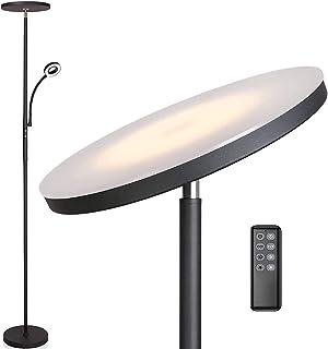 Anten Lampadaire sur pied salon Klara avec liseuse | Noir | 30W Lampe sur pied dimmable avec télécommande | 3 couleur de l...