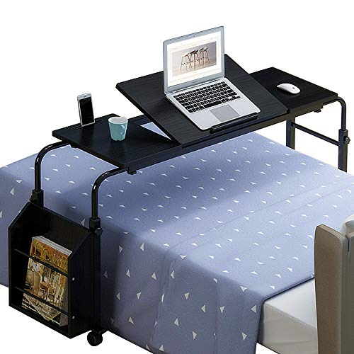 Nurth Overbed Table with Wheels and Bookshelves, Mobile Laptop Desk Cart, Computer Table Over The Bed Table Adjustable Height and Length with Tilt Stand Board for Hospital and Home