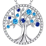 GinoMay Mothers Day Birthday Gifts Mum Jewellery March Birthstone Aquamarine Tree of Life Necklace Blue Sapphire Necklace Her Sterling Silver Pilgrim Jewellery