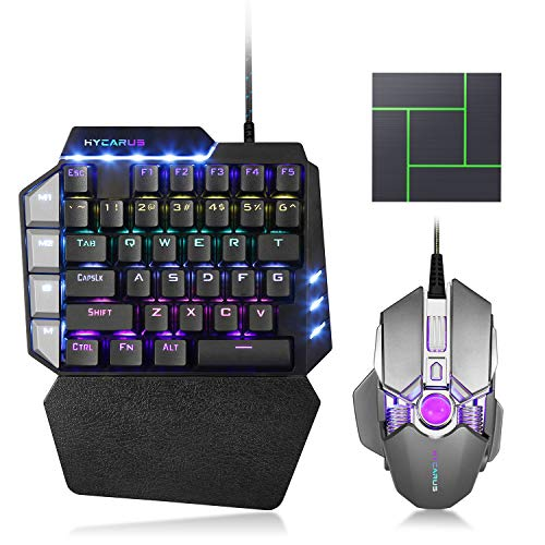HYCARUS Wired One Handed Mechanical Gaming Keyboard and Mechanical Gaming Mouse Combo with RGB LED Backlit. HYCARUS Keyboard and Mouse Converter Adapter for Nintendo Switch/PS4/Xbox One/PS3