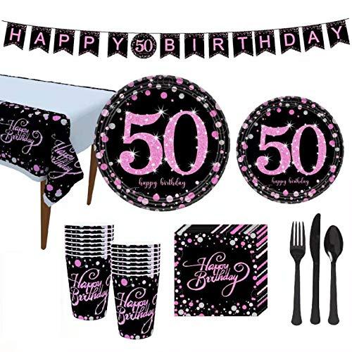 Juego de vajilla de cumpleaños y aniversario de boda, para fiestas de cumpleaños y boda, para servir a 19 invitados, cucharas, tenedores, manteles, 50 cumpleaños o aniversario