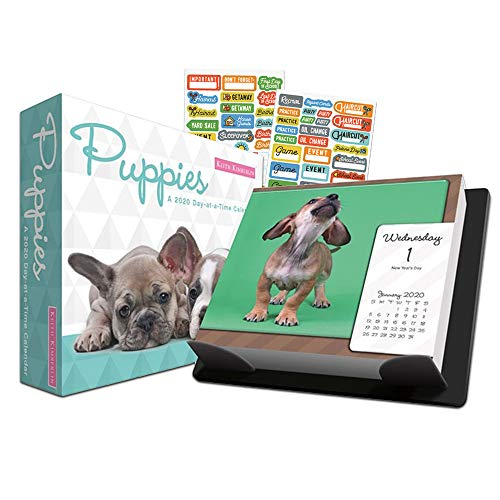 Keith Kimberlin Puppies 2020 Calendar, Box Edition Set - Deluxe 2020 Puppies Day-at-a-Time Box Calendar with Over 100 Calendar Stickers (Dog Puppies Gifts, Office Supplies)