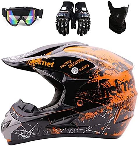 SVIVE Dot Adulto Offroad Casco Motocross Casco Dirt Bike ATV Motocicleta Casco Guantes Gafas Máscara