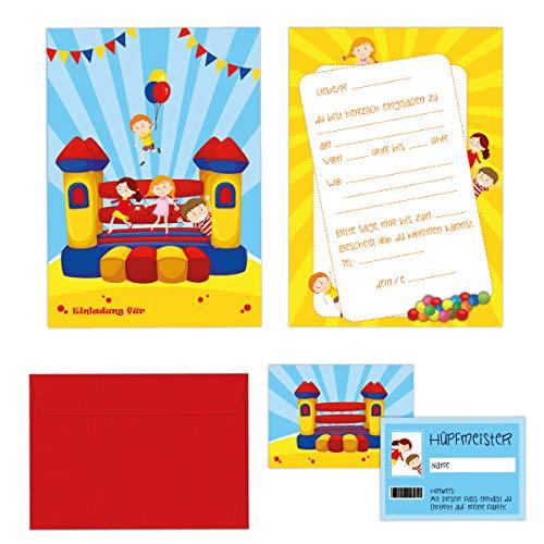 Koeprindt 24-teiliges Einladungskarten Set Kindergeburtstag inkl. Geburtstagspässe und farbige Umschläge (Indoor Spielpark)