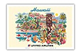 Pacifica Island Art Poster, Motiv Hawaii United Airlines,