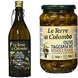 Le Terre di Colombo Aceite de oliva virgen extra 100% italiano, botella con estrías y tapón mecánico, 1 L + Aceitunas Taggiasca sin hueso en aceite de oliva virgen extra (36%), 500 g