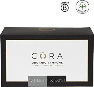 Cora Organic Cotton Tampons with BPA-Free Plastic Compact Applicator; Chlorine & Toxin Free - Variety Pack - Regular/Super (36)