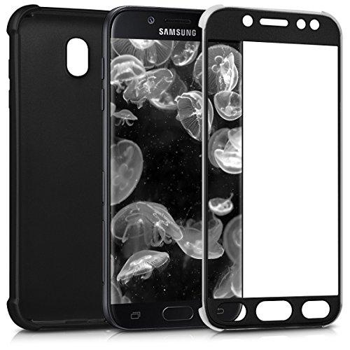kwmobile Funda Compatible con Samsung Galaxy J7 (2017) DUOS - Carcasa de ambas Caras para móvil en Negro Metalizado