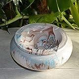 Cenicero antihumo mármol azul marrón y blanco – Modelo muy grande