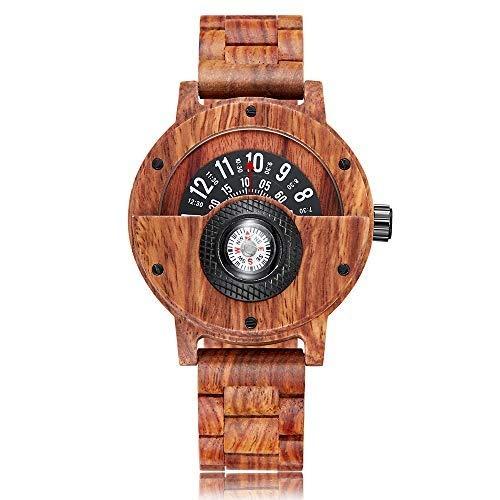 GuoYQ Orologio da Polso al Quarzo in Legno Fatto a Mano, Compass Turntable Comporre Cinturino in Legno bambù da Polso, Braccialetto di bambù di Moda