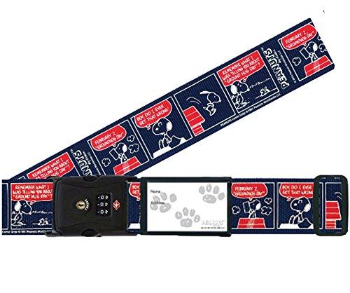 日本製 かわいい ワンタッチ スーツケースベルト スヌーピー TSA ロック付き コミックネイビー