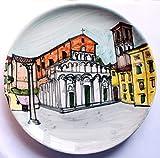 Lucca, cuadrado de la columna cortada, placa de cerámica hecha a mano, 25,7 cm de diámetro, 2,7 cm de altura. Hecho en Italia, Toscana, Lucca. Creado por Davide Pacini.