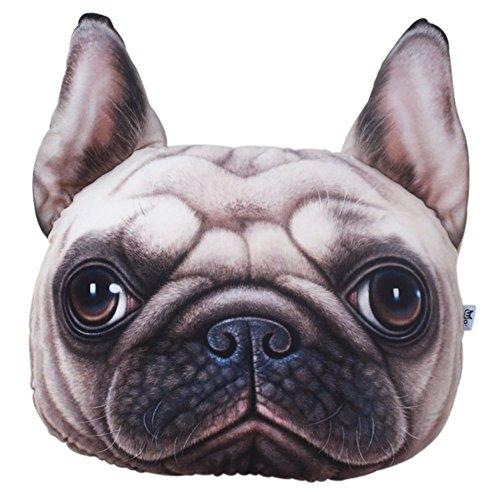 Cojín con forma de cabeza de perro Shar-Pei, de peluche en 3D, suave, para sofá, para la espalda, para jugar o decorar el hogar