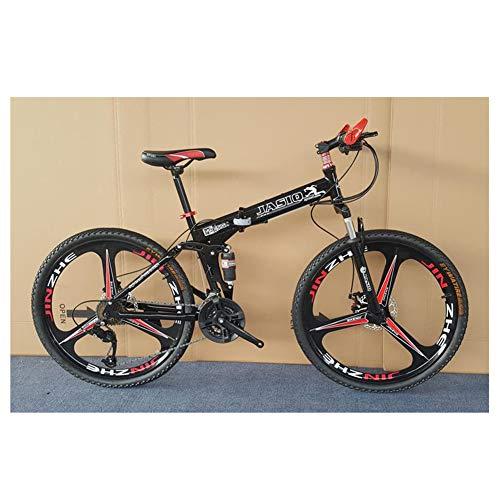 Bicicletas De 26 Pulgadas Shift De Bicicletas De Montaña De La Bici 27 Velocidad Plegable De Bicicletas De Montaña Choque Frame Absorción De Bicicletas De Montaña 3 Spoke Ruedas De Bicicleta,Negro