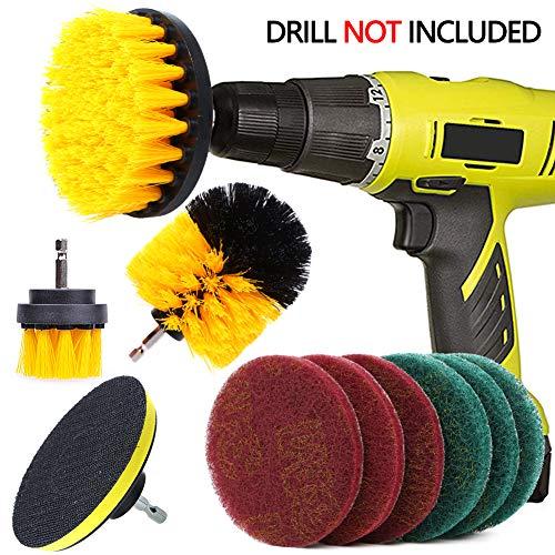 QUIENKITCH 10 Piece Drill Brush Attachments Set, Power Drill Scrubber Brush Attachments,...