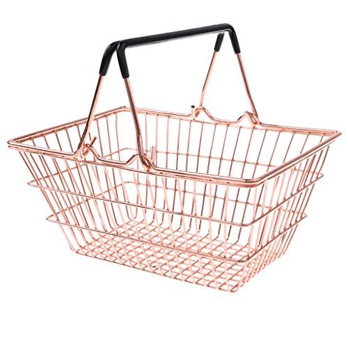 D DOLITY Mini Metall Supermarkt Einkaufskorb Tragekorb, Kinder Entwicklung Spielzeug (1 Stück ) - Golden, M