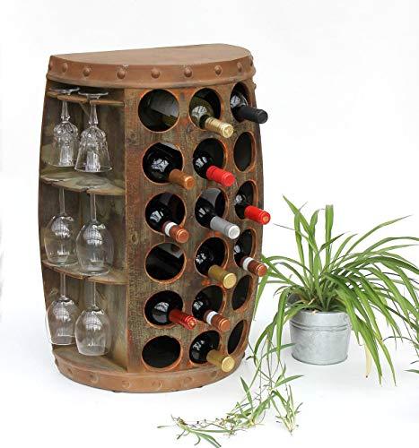 DanDiBo Weinregal Holz Vintage Weinfass Flaschenregal 1486 Beistelltisch Schrank Fass 72cm Hoch Weinbar