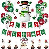 SHLMO Decoración de fiesta Bandera de Navidad 45,7 cm rojo y verde estrella de cinco puntas Santa Claus Navidad globo Set 2