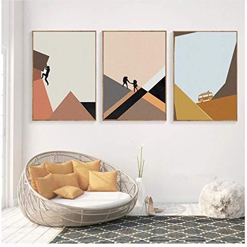 KELEQI Wandkunst Bilder Leinwand Malerei Klettern Poster Druck Nordic Mountain Bus Trip Dekorativ für Wohnzimmer -19.6