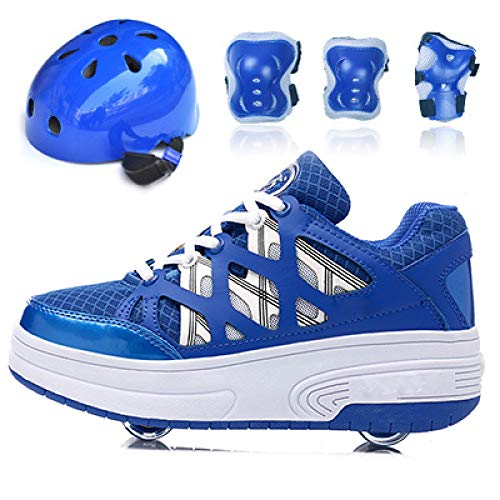 WLOWS Set-Children Heely Roller Skate Shoes Zapatos De Skate Zapatillas De Deporte para Niños con Dos Ruedas Zapatillas De Skate para Niñas Y Niños-2 En 1 Rueda De Deformación De Doble Fila,Blue-34