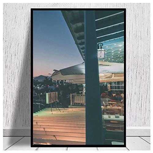 Carteles de Vista Nocturna de Lanzarote Matagorda Pintura en Lienzo Cuadro de Arte de Pared para decoración de Sala de Estar decoración del hogar impresión en Lienzo 50x70cm sin Marco