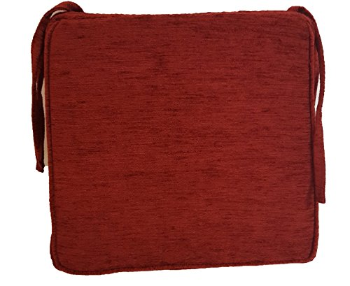 Galette de chaise carrée de luxe en tissu chenille de haute qualité teintes profondes fabriqué au Royaume-Uni à partir de Homestreet