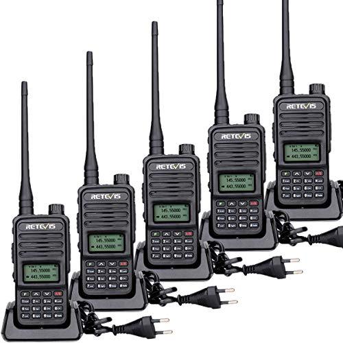 Retevis RT85 Walkie Talkie, Portátil 2 Way Radio Doble Banda, Transceptor Profesional de 2m/70cm con VOX, DTMF, Walkie Talkie 200 Canales Largo Alcance para Almacén, Fábrica (Negro, 5 Piezas)