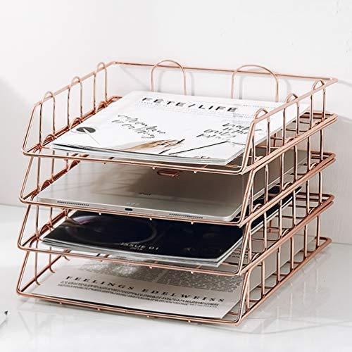 Bandeja de papel apilable de 4 niveles de oro rosa, organizador de escritorio, soporte decorativo apilable para el espacio de trabajo, soporte de metal..