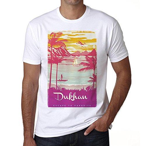 Dukhan, Escapar al paraíso, Camiseta para Las Hombres, Manga Corta, Cuello Redondo, Blanco