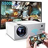 Mini Projector,WiFi Projector 5500L, Supports 1080P Full HD, Portable Video Projector for Home Outdoor Theater, Compatible with TV Stick, TV Box, Smartphone PC Laptop Xbox PS4 and Vedio Game-Silver
