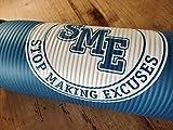 S.M.E. Esterilla de entrenamiento de NBR para fitness, gimnasia, yoga | Stop Making Excuses Marca Italiana | 177 x 60 x 1,2 cm de grosor + correa de transporte (azul)