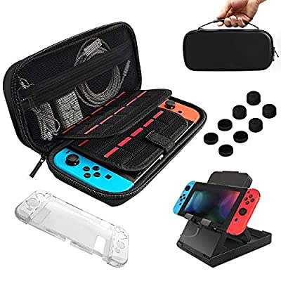 BOENFU Upgrade 17 In 1 Case & Accessories Kit for Nintendo Switch, Come With Hard Case, Adjustable Stand, Clear Game Tablet Case, Joy-Con Controller Case, 9HD Screen Protector, Thumb Grip Caps