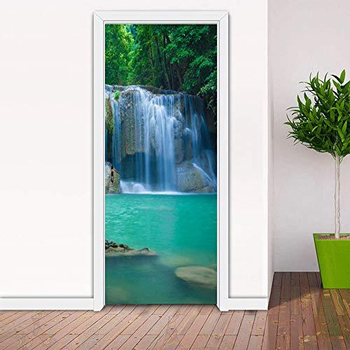 Creativo DIY 3D pegatinas de puerta cascadas ver papel tapiz comedor decoración del hogar calcomanías de pared vinilo Mural pasta de puerta