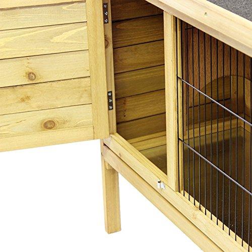 Hasenstall / Kaninchenstall STELLA aus massivem Tannen-Holz in 92x45x70 cm – Kleintier-Stall für Draußen – Wetterfester Schutz & Rückzugsort für Hase & Kaninchen im Winter & Sommer – TIMBO - 5