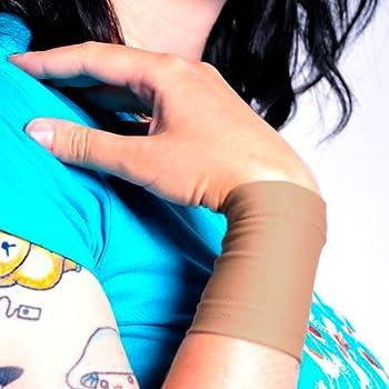 Tat2X Ink Armor Premium Wrist 3  Tattoo Cover Up Sleeve - Super Comfy - U.S Made - Suntan Skin Tone  single wrist cover sleeve   Extra-Large/Large