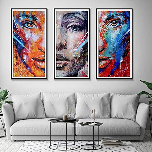 Rahmenlose Malerei Nordic Bunte abstrakte Aquarell Porträt Leinwand Malerei Wohnzimmer Poster Wandkunst Home DecorationAY5501 50x70cmx3