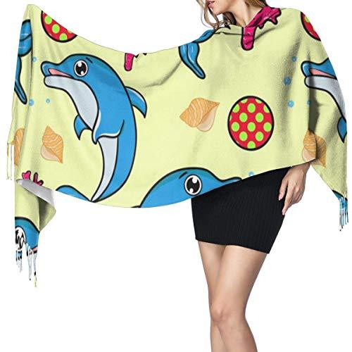 Moda para mujer Chal largo Lindo hurón Bufanda de cachemira azul Invierno Cálido Bufanda grande Caja de regalo