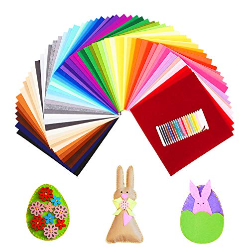 SOLEDI 41 Farben Filzstoff Weich Filztuch Geeignet für Nähen, 30 * 30cm Felt Fabric Filzplatten zum DIY Handwerk Nähen Projekte Patchwork