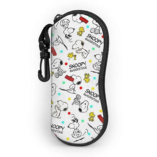 Snoopy - Funda para gafas de sol, funda protectora portátil, cremallera de viaje, funda de neopreno suave con clip para cinturón.