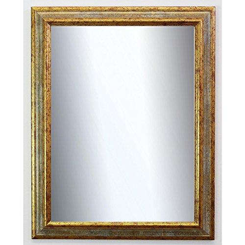 Spiegel Wandspiegel Badspiegel Flurspiegel Garderobenspiegel - Über 200 Größen - Bari Grau Gold 4,2 - Außenmaß des Spiegels DIN A4 (21,0 x 29,7 cm) - Wunschmaße auf Anfrage - Antik, Barock