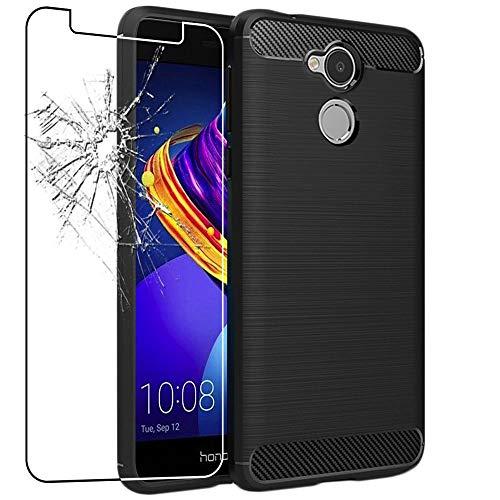 ebestStar - Cover Compatibile con Huawei Honor 6C PRO Custodia Protezione Silicone Gel Fibra di Carbonio Anti Scivolo, Nero +Pellicola Vetro Temperato [Apparecchio: 147.9 x 73.2 x 7.7mm, 5.2'']