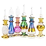 """NileCart Egyptian Perfume Bottles Wholesale Set of 6 Size 2"""" (5 cm) Mouth-Blown with Handmade Golden Egyptian Decoration for Perfumes & Essential Oils"""