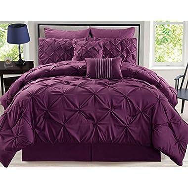 KingLinen 8 Piece Rochelle Pinched Pleat Plum Comforter Set Queen