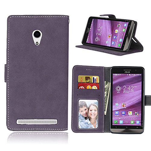 Funda ASUS ZenFone 6 A600CG A601CG 6.0inch,Bookstyle 3 Card Slot PU Cuero Cartera para TPU Silicone Case Cover(Violeta)