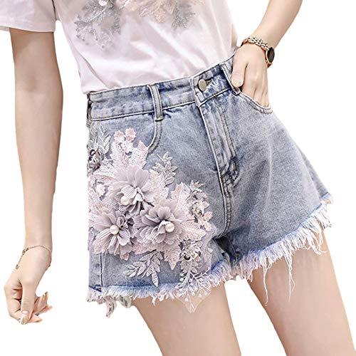 Fainash Pantalones Cortos de Mezclilla Decorativos para Mujer M