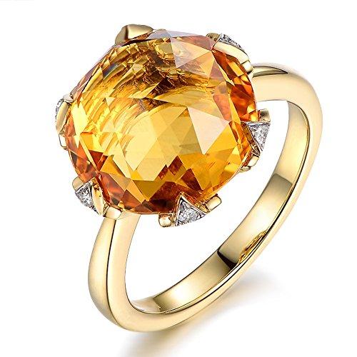 Raro 7.8ct Naturale Citrina anello with Sud Africa Diamantes of 5 Points Pietra preziosa 585/1000 (14 carats) 14K Oro giallo Fidanzamento Anniversario anellos per donne