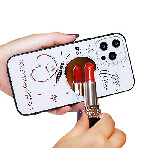 Compatible con iPhone 12 Pro MAX 12 Mini Funda Glitter Diamond Heart Mirror Funda Luxury Bling Crystal Rhinestone Funda de Parachoques de TPU Suave con Cordon (6,7'' iPhone 12 Pro MAX, Blanco)